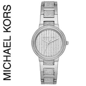 NWT authentic dazzling MK Gabbi Silver tone watch